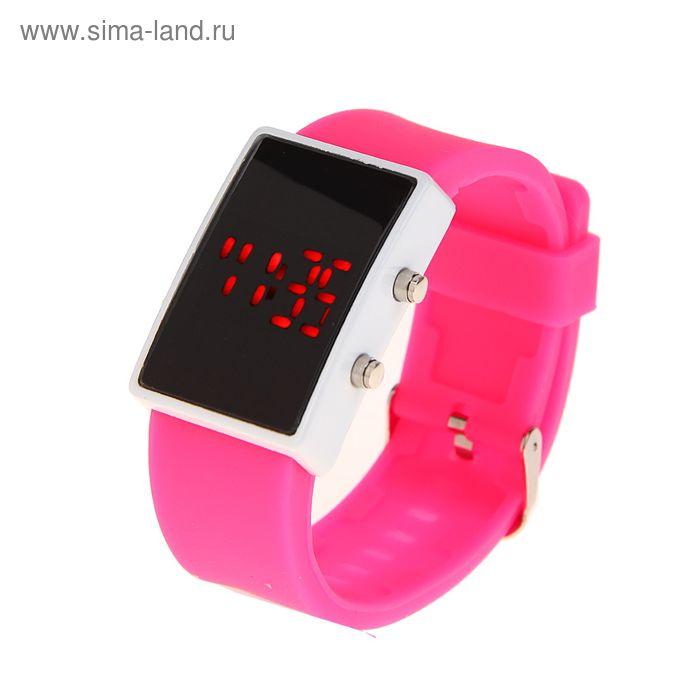 Часы наручные женские, электронные с силиконовым ремешком, прямоугольные, розовые 3х23 см
