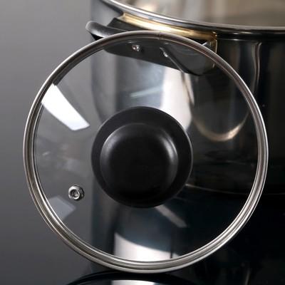 Крышка для сковороды и кастрюли стеклянная, d=14 см, с прикручивающейся пластиковой ручкой - Фото 1