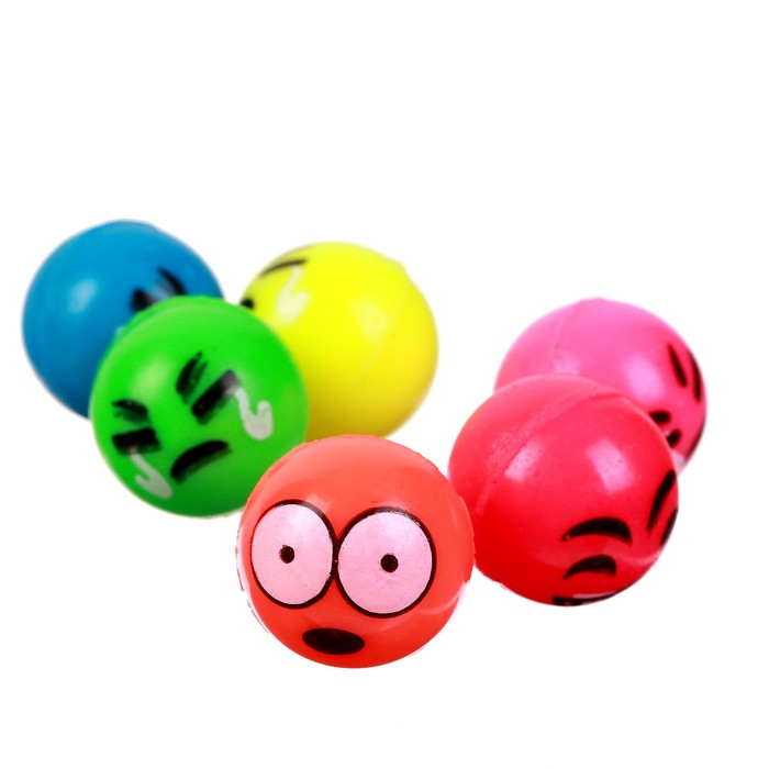 Мяч каучуковый Рожицы, 2,7 см, цвета МИКС