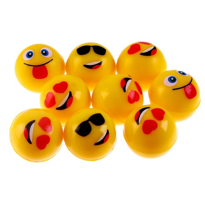 Мяч каучуковый Смайлики, 3,2 см