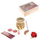 Набор подарочный (аромалампа, масло 3 мл, 2 свечи 5 гр, подставка, палочки 20 шт) роза - Фото 1