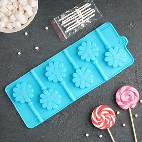 Форма для леденцов и мороженого «Ромашка», 6 ячеек, с палочками, цвета МИКС Ош
