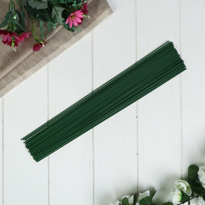 Проволока для изготовления искусственных цветов Зелёная длина 40 см сечение 0,2 см