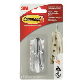 Легкоудаляемый крючок ДИЗАЙН  Command 17081CHR, хромированный, средний, до 1,35кг, 1шт