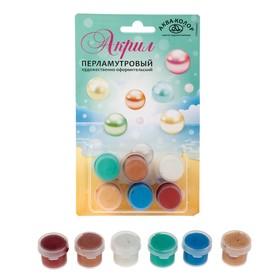 Краска акриловая, набор 6 цветов х 18 мл, «Аква-Колор» Pearl , морозостойкая, перламутровая