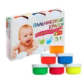Краски пальчиковые, набор 6 цветов х 60 мл, «Спектр», 360 мл, флуоресцентные (от 3-х лет) Ош
