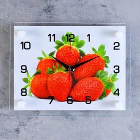 Часы настенные, серия: Кухня, 'Клубника', стекло, 20х26  см, микс Ош