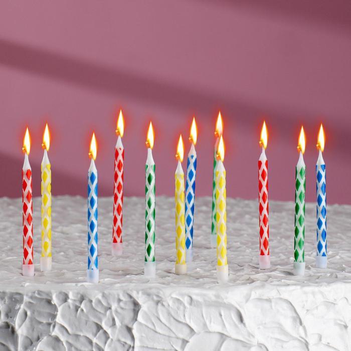 Свечи восковые для торта, в наборе 12 шт. с подставками, 6 × 0,5 см
