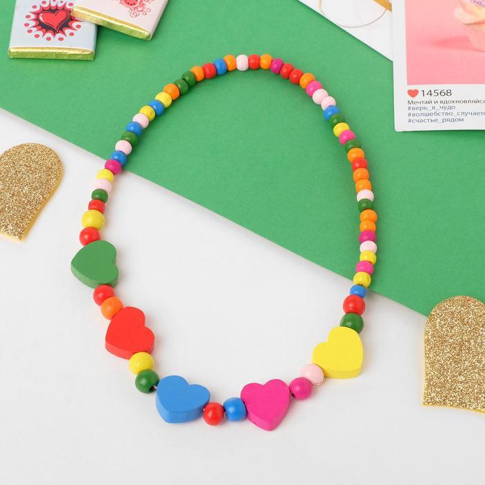 Бусы детские Выбражулька сердечки, цвет МИКС