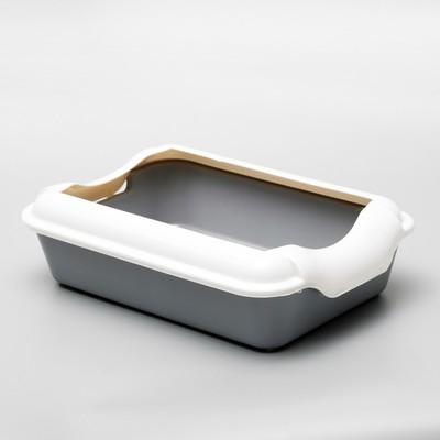 Туалет с бортом, 40 × 27 × 11 см, серый - Фото 1