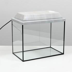 Аквариум прямоугольный с крышкой, 30 литров, 40 х 23 х 32/37,5 см, беленый дуб