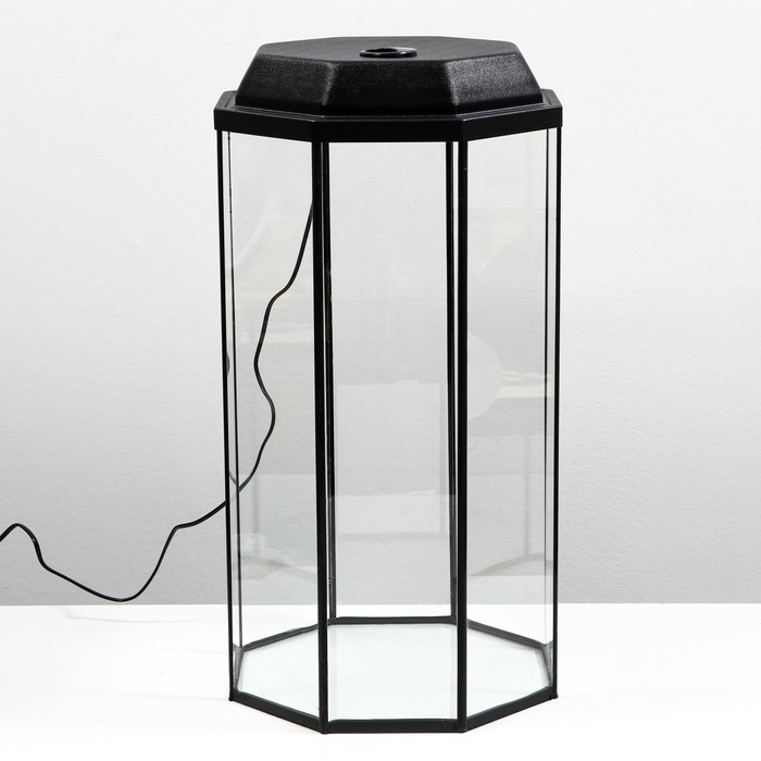Аквариум восьмигранный с крышкой, 50 литров, 33 х 33 х 60/67 см, чёрный