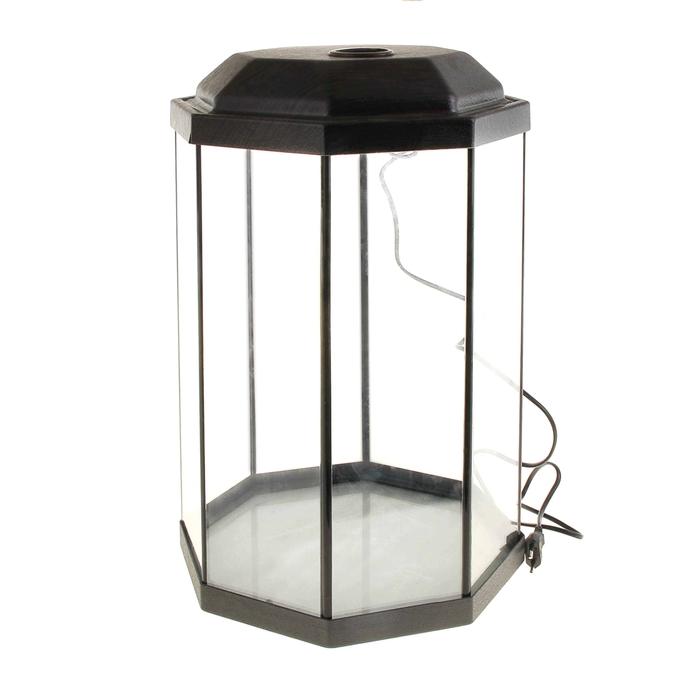 Аквариум восьмигранный с крышкой, 32 литра, 29 х 29 х 45 см, венге