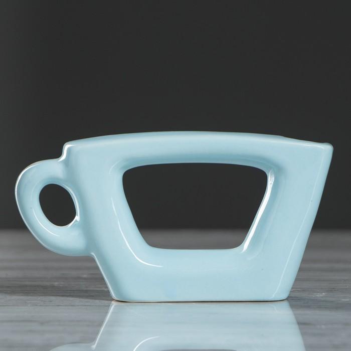 Ваза настольная Чашка, голубой цвет, 7 см, керамика