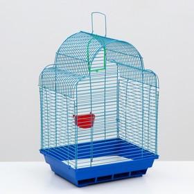 Клетка для птиц 'Купола' (кормушка, жёрдочка, качель), 35 х 28 х 52 см  микс цветов Ош