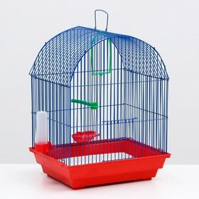 Клетка для птиц большая, полукруглая, поилка,  жердочка, качель, 35 х 28 х 45 см микс цветов Ош