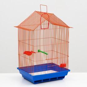 Клетка для птиц большая, крыша-домик(поилка, кормушка, жердочка, качель)35 х 28 х 55 см микс Ош