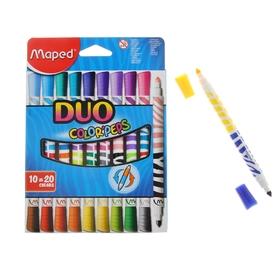 Фломастеры двухсторонние, 20 цветов Duo, с треугольным заблокированным пишущим узлом, европодвес