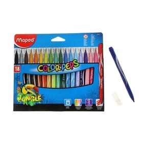 Фломастеры утолщенные, 18 цветов JUNGLE, смываемые, картонная упаковка
