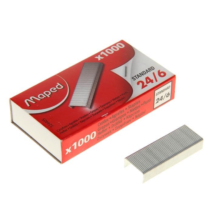 Скобы для степлера №24/6 Maped Standard никелированные, 1000 штук
