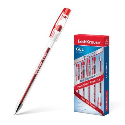Ручка гелевая G-POINT узел-игла 0.38мм, чернила красные, длина линии письма 500м - Фото 1