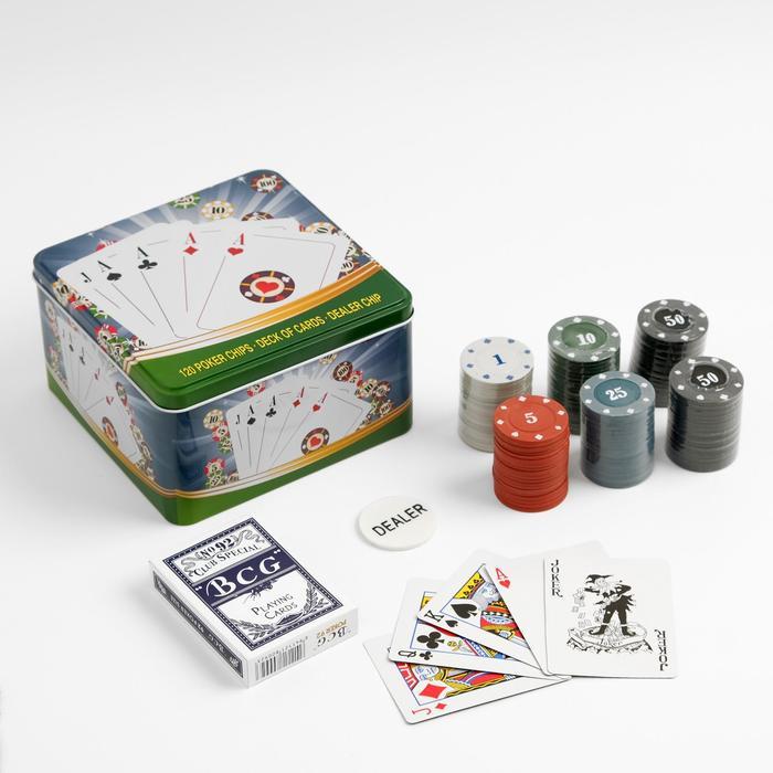 Покер, набор для игры карты 54 шт, фишки 120 шт с номин. 15х15 см, микс