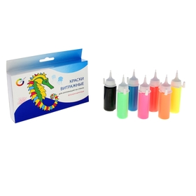 Краска по стеклу витражная, набор 7 цветов x 20 мл, Экспоприбор, аппликация, флуоресцентная Ош