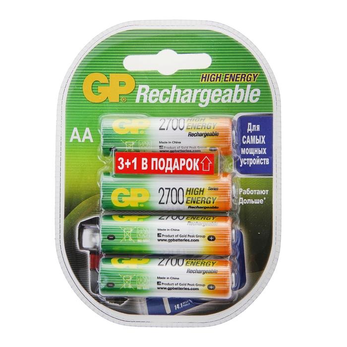 Аккумулятор GP, Ni-Mh, AA, HR6-4BL, 1.2В, 2700 мАч, блистер, 4 шт.
