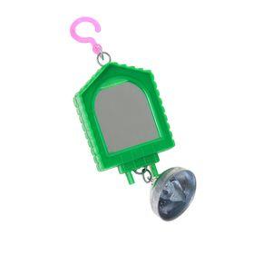 Игрушка для птиц зеркало двойное с металлическим колокольчиком №1 микс цветов Ош