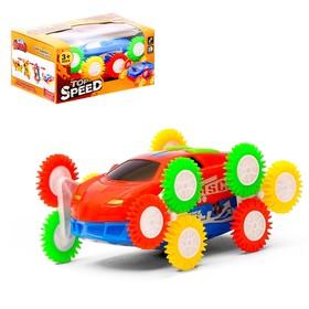 Машина-перевёртыш «Гонка», двухсторонняя, тройное колесо, световые эффекты, цвета МИКС