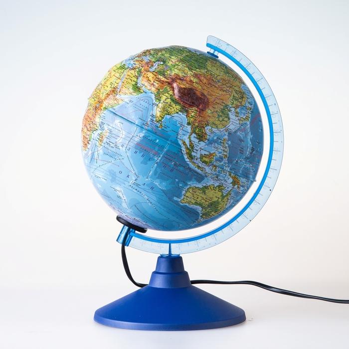 Глoбус физико-политический рельефный Классик Евро, диаметр 210 мм, с подсветкой