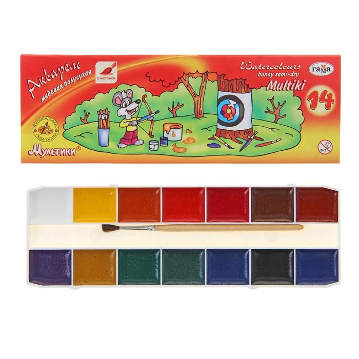 Акварель 14 цветов «Гамма» «Мультики», в картонной коробке, с кистью