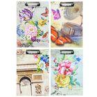 Планшет с прижимом, формат А4, картон, «Акварель/бабочки», МИКС