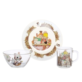 "Набор посуды ""Малыш и Карлсон"", 3 предмета: кружка 200 мл, салатник 300 мл, тарелка 20 см"