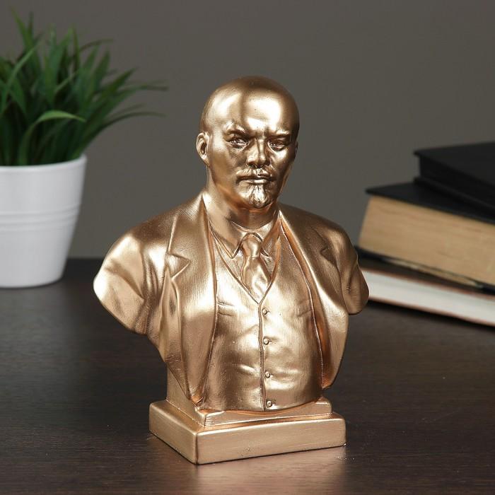 Бюст Ленин большой бронза,золото, 8х14х18см
