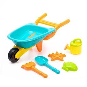 Песочный набор «Тачка», 6 предметов: тележка, лопатка, грабли, сито, 2 формочки
