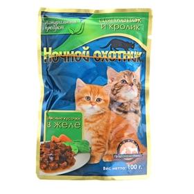 """Влажный корм """"Ночной охотник"""" для котят, цыпленок/кролик в желе, пауч, 100 г"""