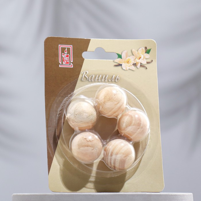 Арома-саше деревянные шарики (набор 5 шт), аромат ваниль