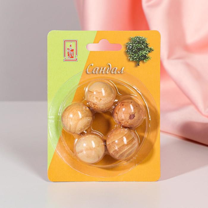 Арома-саше деревянные шарики (набор 5 шт), аромат сандал