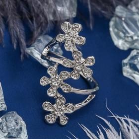 Кольцо 'Цветочный каскад', цвет белый в серебре, размер 17,18,19 МИКС Ош