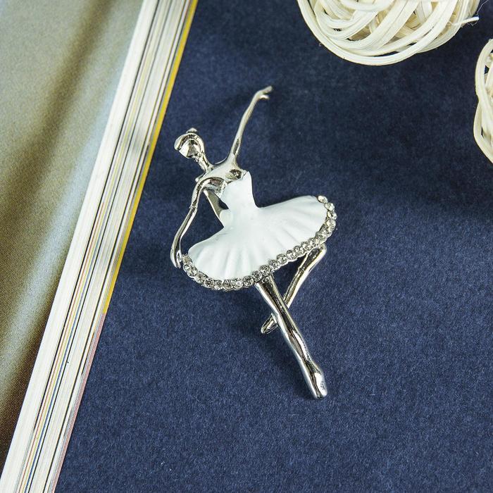 """Брошь """"Балерина"""", цвет белый в серебре"""