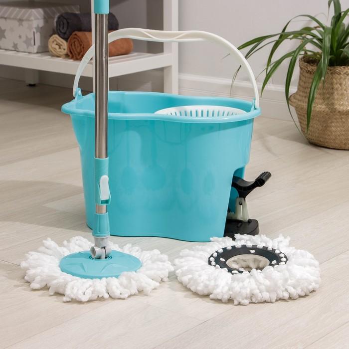 Набор для уборки: швабра, ведро с педальным отжимом и пластиковой центрифугой 17 л, доп.насадка, цвет МИКС