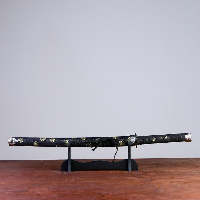 Сувенирное оружие Катана на подставке, чёрные ножны с золотыми кругами, 70 см