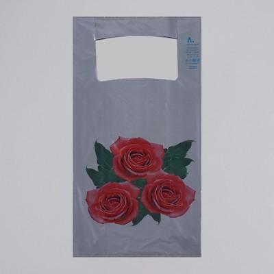 """Пакет """"Розы"""", полиэтиленовый, майка, 28 х 55 см, 35 мкм"""