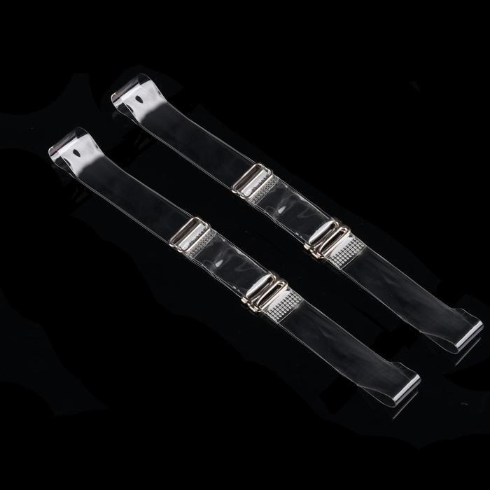 Бретели силиконовые, 1,5 см, 37 см, пара, цвет прозрачный
