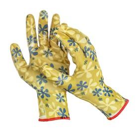 Перчатки нейлоновые, с нитриловым полуобливом, размер 10, цвет МИКС