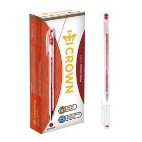 Ручка гелевая стандарт Crown HJR-500 красная, узел 0.5мм