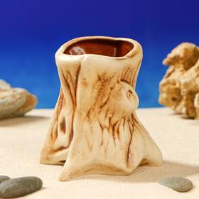 Декорация для аквариума ''Пень'' коричневый , 7 х 8 х 9 см