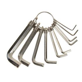 Набор ключей имбусовых Sparta, 1.5–10 мм, 10 шт, никелированный, на кольце Ош
