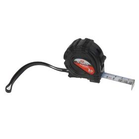 Рулетка Matrix, 3 м х 16 мм, обрезиненный корпус, черная